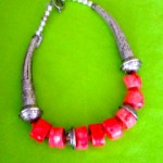 Pink and silver necklace 2