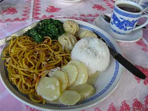 A Typical Bhutanese lunch