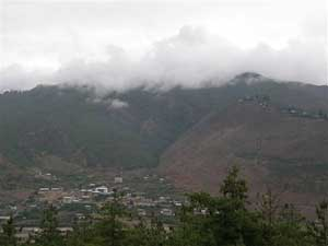 Scene of the mist covered Himalaya Mountains, Bhutan