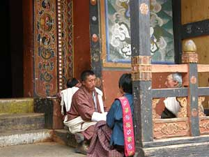 At a temple in Paro