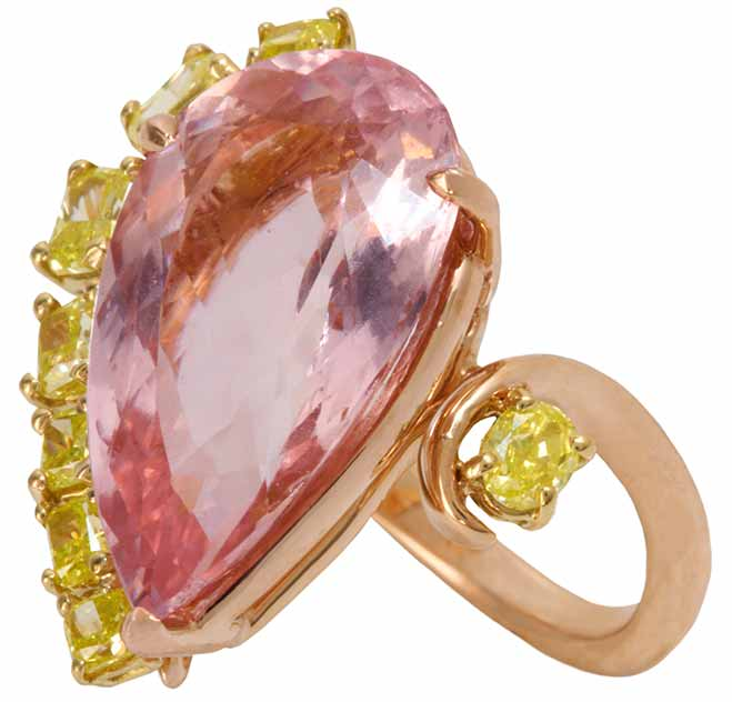 Modern Ballerina Ring by Jessica Surloff. 18K Rose Gold, act. Morganite and Yellow Diamonds