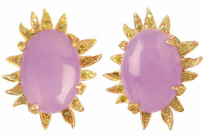 Jade Earrings by Jessica Surloff. 18K Gold, 27 cts. Lavender Jade and Yellow Diamonds. Soiree Collection.