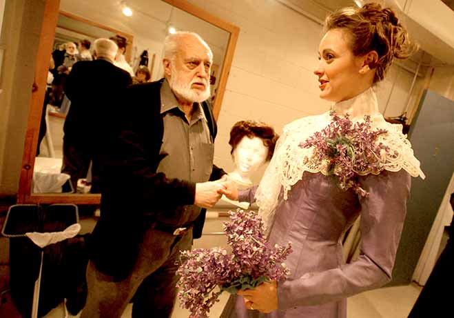 Costume fitting with Desmond Heeley, designer and Sara Topham, actor Photo: Erin Samuell